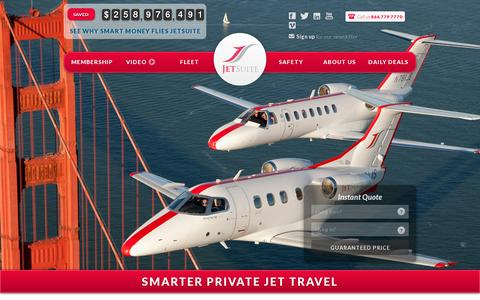 Screenshot of Home Page jetsuite.com - JetSuite | Private Jet Charter Flights – Private Jet Rental Service - captured July 17, 2014