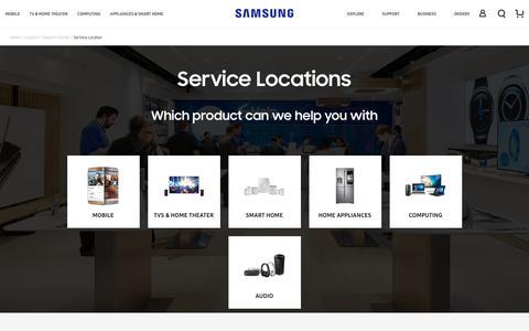 Screenshot of Locations Page samsung.com - Service Locator - captured Feb. 4, 2019