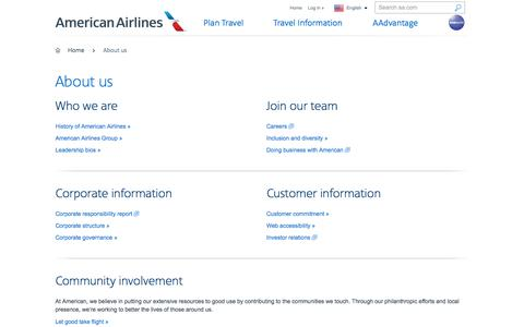 Screenshot of About Page aa.com - About us − Customer service − American Airlines - captured Jan. 8, 2018