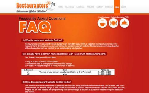 Screenshot of FAQ Page restaurantors.com - Restaurant Website Templates FAQ - captured March 16, 2016