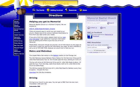 Screenshot of Maps & Directions Page memorialbaptistchurch.org - MBC   Directions - captured Oct. 4, 2014