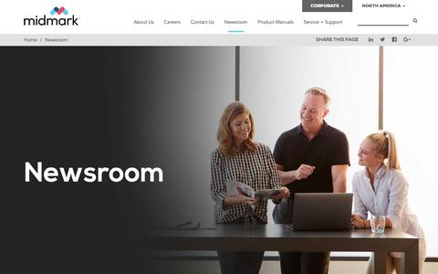 Screenshot of Press Page midmark.com - Newsroom - Midmark - captured Sept. 28, 2018