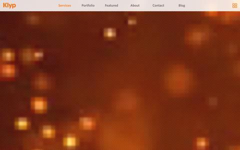 Screenshot of Services Page klyp.co - Digital Creative, Development & Marketing Agency - Klyp - captured Jan. 9, 2016