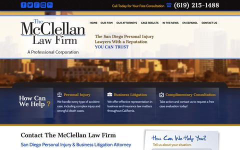 Screenshot of Contact Page mcclellanlaw.com - Contact The McClellan Law Firm | San Diego Personal Injury Lawyer - captured Oct. 6, 2014