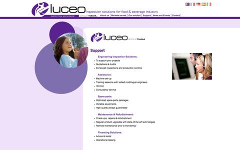 Screenshot of Support Page luceo-inspection.com - Engineering Inspection Solutions - Food Inspection, Beverage Inspection - captured Sept. 30, 2014