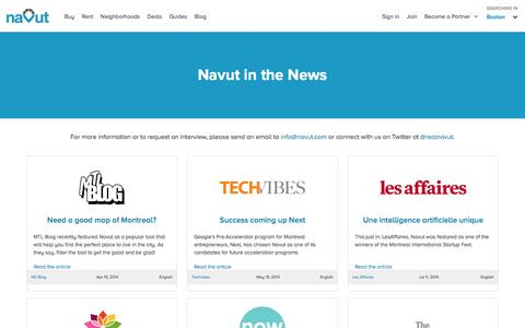 Screenshot of Press Page navut.com - Navut in the News | Press coverage, articles, podcast and video interviews - captured May 9, 2017