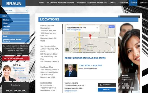 Screenshot of Locations Page braunco.com - Locations - Braun                   Braun - captured Nov. 3, 2014