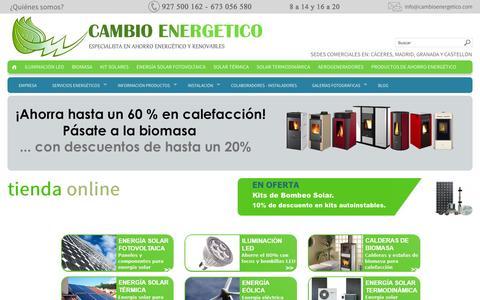 Screenshot of Home Page cambioenergetico.com - Tu tienda de Kits solares y ahorro energetico | Cambioenergetico.com - captured Oct. 1, 2014