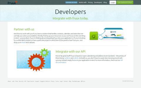 Screenshot of Developers Page fruux.com - fruux | developers - captured July 20, 2014