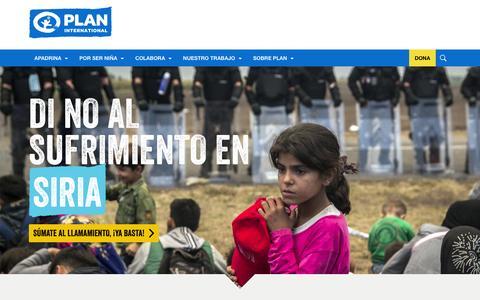 Screenshot of Home Page plan-international.es - Plan International | ONG de desarrollo comunitario centrada en la infancia - captured Jan. 28, 2016
