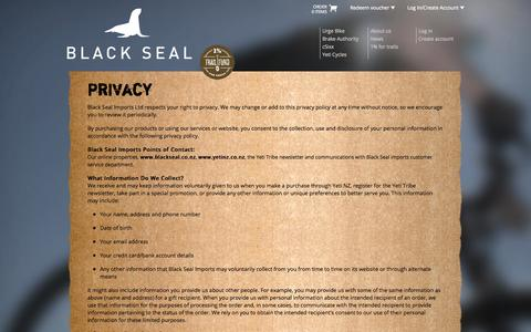 Screenshot of Privacy Page blackseal.co.nz - Privacy   Black Seal - captured Oct. 5, 2014