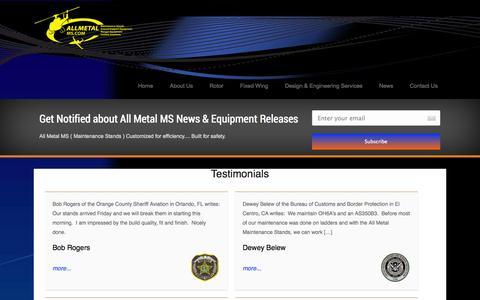 Screenshot of Testimonials Page allmetalms.com - Testimonials - captured Oct. 4, 2014
