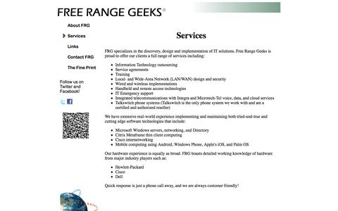 Screenshot of Services Page freerangegeeks.com - Free Range Geeks - captured Sept. 30, 2014