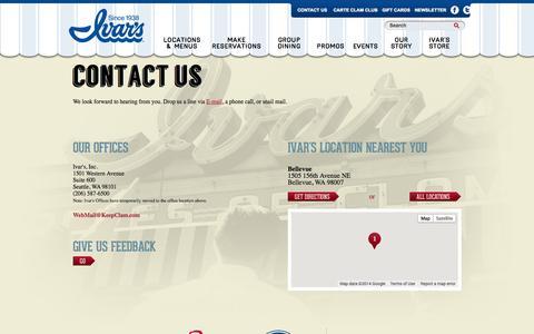 Screenshot of Contact Page ivars.com - Contact Us | Ivar's - captured Sept. 23, 2014