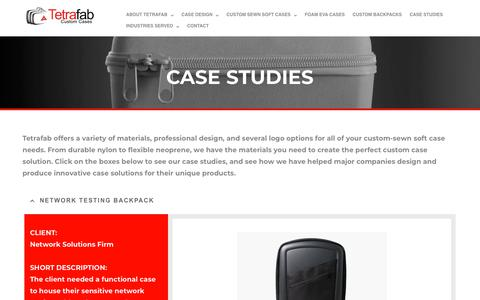 Screenshot of Case Studies Page tetrafab.com - Case Studies- Tetrafab Custom Cases - captured Oct. 20, 2018