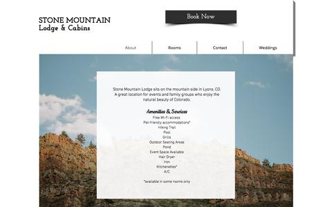 Screenshot of Home Page stonemountainlodge.com - Colorado Cabins| Stone Mountain Lodge & Cabins | Lyons CO - captured Oct. 23, 2017