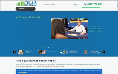 Screenshot of Contact Page tellusselfstorage.com - Contact Us - captured Sept. 20, 2018