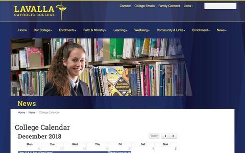 Screenshot of Press Page lavalla.vic.edu.au - College Calendar :: Lavalla Catholic College - captured Dec. 3, 2018