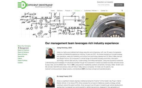 Screenshot of Team Page efficientdrivetrains.com - Management | Efficient Drivetrains - captured May 9, 2017