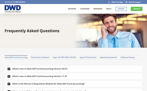 Screenshot of FAQ Page dwdtechgroup.com - Frequently Asked Questions | DWD Technology Group - captured May 12, 2019
