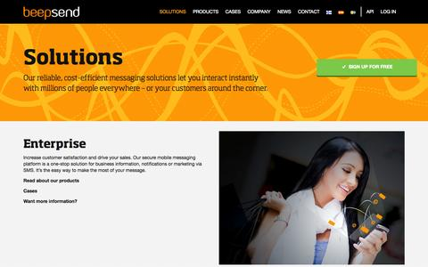 Screenshot of Developers Page beepsend.com - Solutions   Beepsend - captured Sept. 19, 2014