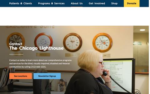 Screenshot of Contact Page chicagolighthouse.org - Contact - The Chicago Lighthouse - captured Feb. 18, 2016