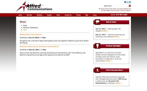 Screenshot of Press Page alliedphone.com - Telecom & IT News | Allied Communications - captured Oct. 4, 2014
