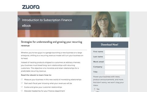 Screenshot of Landing Page zuora.com - Introduction to Subscription Finance eBook | Zuora - captured March 14, 2016