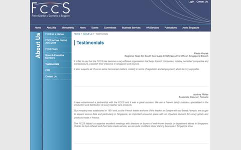 Screenshot of Testimonials Page fccsingapore.com - Testimonials | The French Chamber of Commerce in Singapore - captured Oct. 6, 2014