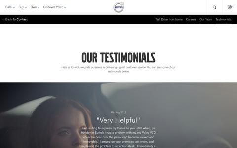 Screenshot of Testimonials Page volvocars.com - Testimonials | Volvo Cars UK Ltd - captured Jan. 25, 2018