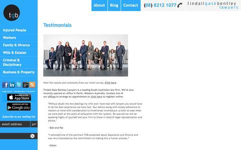 Screenshot of Testimonials Page tgb.com.au - Testimonials | Tindall Gask Bentley Lawyers | Adelaide, South Australia | Perth, Western Australia - captured Oct. 6, 2014