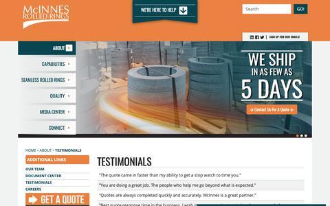 Screenshot of Testimonials Page mcinnesrolledrings.com - McInnes Rolled Rings - captured Nov. 6, 2018