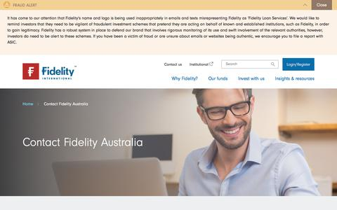Screenshot of Press Page fidelity.com.au - Contact Fidelity Australia | Fidelity Australia - captured July 6, 2018