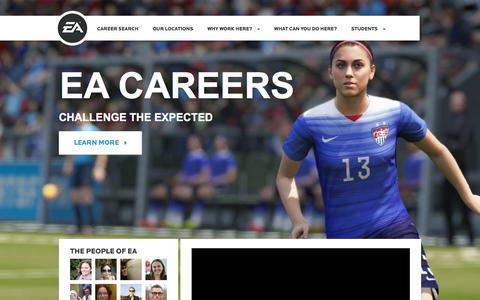 Screenshot of Jobs Page ea.com - Home | EA Careers - captured Jan. 21, 2016