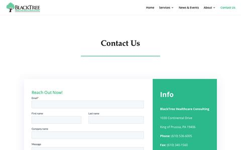 Screenshot of Contact Page blacktreehealthcareconsulting.com - BlackTree Healthcare Consulting | Contact BlackTree - captured Oct. 17, 2019