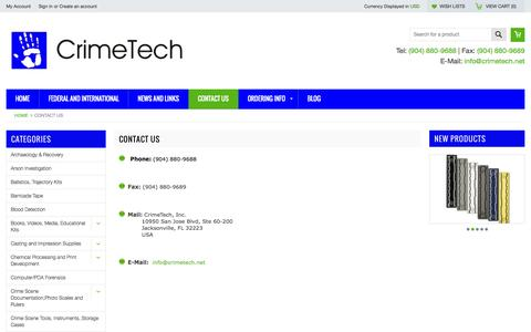 Screenshot of Contact Page crimetech.net - CrimeTech Contact Information - captured Oct. 3, 2014