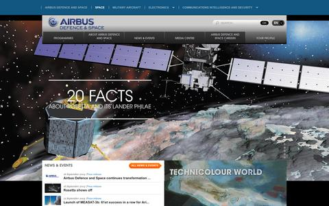 Screenshot of Home Page space-airbusds.com - The European space company - captured Oct. 1, 2014