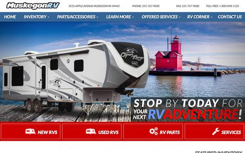 Screenshot of Home Page muskegonrv.com - Muskegon RV in MI | Travel Trailers, 5th Wheels, Toy Haulers - captured Oct. 23, 2018