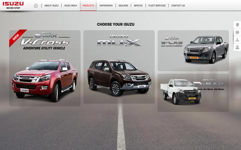 Screenshot of Products Page isuzu.in - Products - captured Sept. 26, 2018