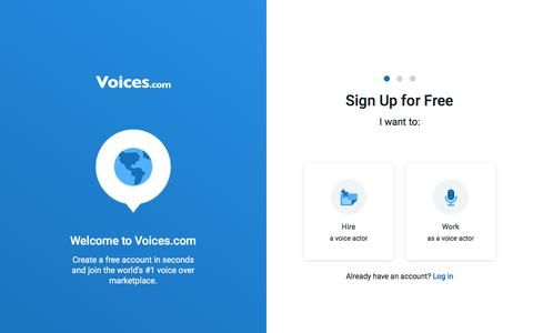 Screenshot of Signup Page voices.com - Signup | Voices.com - captured Dec. 6, 2019