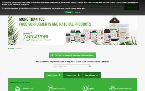Screenshot of Products Page naturlider.com - Products - Naturlíder     :    Naturlíder - captured Oct. 20, 2018