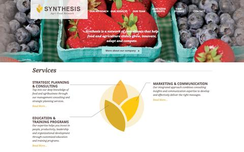Screenshot of Home Page synthesis-network.com - Synthesis Agri-Food Network | Strategy. Action. Results. - captured Oct. 6, 2014