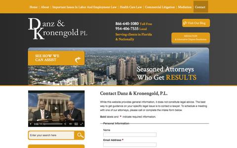 Screenshot of Contact Page danzlaw.net - Contact | Danz & Kronengold, P.L. | Broward County, Florida - captured Nov. 23, 2016