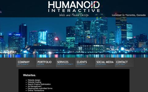 Screenshot of Services Page humanoidinteractive.com - Humanoid Interactive - Design Services - captured Dec. 12, 2015
