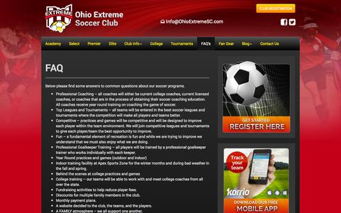 Screenshot of FAQ Page ohioextremesc.com - FAQ - Ohio Extreme Soccer Club - Ohio Competitive Soccer League - captured Oct. 27, 2014
