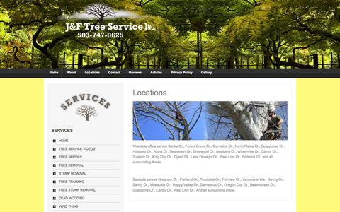 Screenshot of Locations Page jandftreeservice.com - Locations | Portland Tree Service and Tree Removal, Stump Removal, Tree Trimming | J and F - captured Oct. 3, 2014