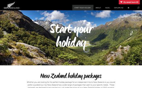 Screenshot of Menu Page newzealand.com.au - Start your Holiday - New Zealand Holidays - Go New Zealand - captured Dec. 10, 2018