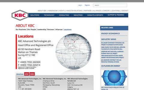 Screenshot of Locations Page kbcat.com - Oil and gas consulting - captured Oct. 6, 2014