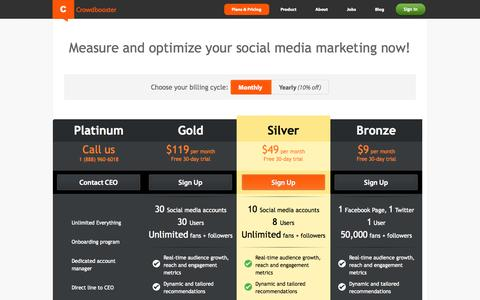 Screenshot of Pricing Page crowdbooster.com - Crowdbooster Plans and Pricing - captured Sept. 13, 2014