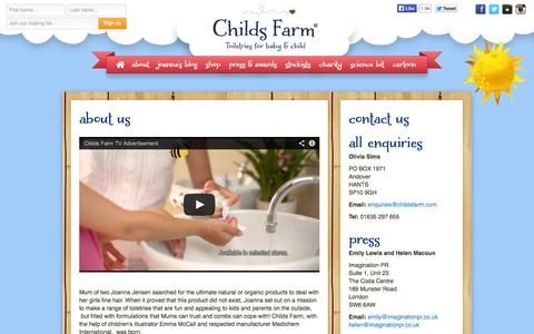 Screenshot of About Page childsfarm.com - Childs Farm - All about Childs Farm - captured Oct. 2, 2014